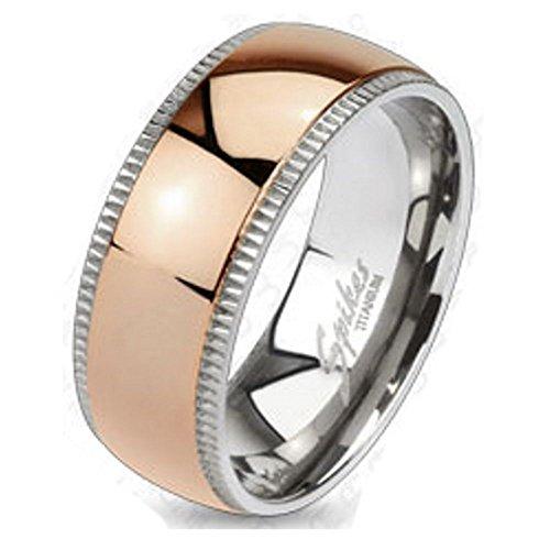 Bungsa 54 (17.2) Titanium DAMENRING Rosegold - Silber Titan-Ring mit Rosé-Goldenem Mittelring für Damen & Herren - Roséfarbener Damenring/Herrenring - SCHMUCKRING - Roségold Titan Ringe