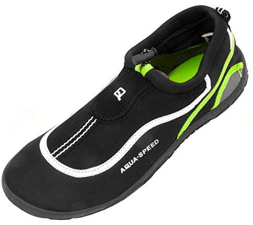 AQUA-SPEED Scarpe Di Acqua Per Spiaggia - Mare - Lago - Pantofole Ideale Come Protezione Per I Piedi - #As24 Nero/Bianco/Verde