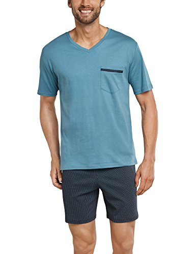 Schiesser Herren Schlafanzug Set kurz, blau (blaugrün 817), Large (Herstellergröße 052)