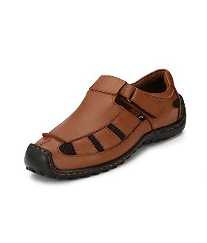 Fucasso Men's Genuine Leather Tan Sandals-8UK