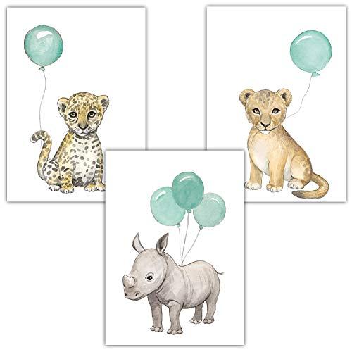 Frechdax® 3er Set Kinderzimmer Poster Baby Bilder DIN A4 | Waldtiere Safari Afrika Tiere Tierposter Luftballon Ballon Farbwahl (3er Set Mint, Löwe, Nashorn, Leopard)