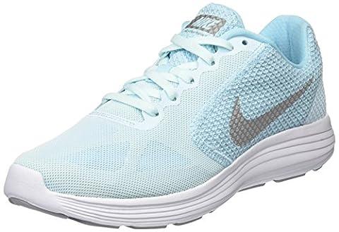 Nike Revolution 3, Chaussures de Running Entrainement Femme, Bleu (Bleu Glacier Blue/Matte Silver-Still Blue-Wolf), 38.5 EU