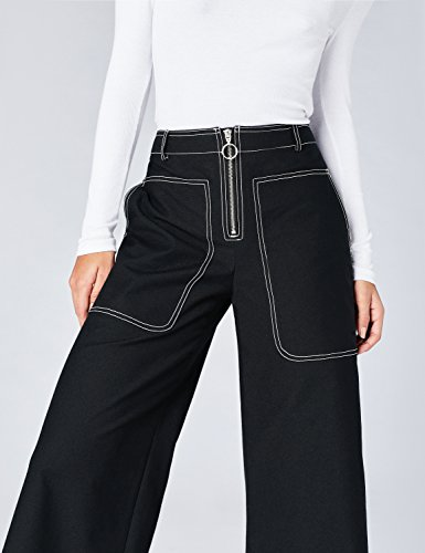 FIND Pantaloni Cropped a Gamba Larga Donna Blu (Navy2)