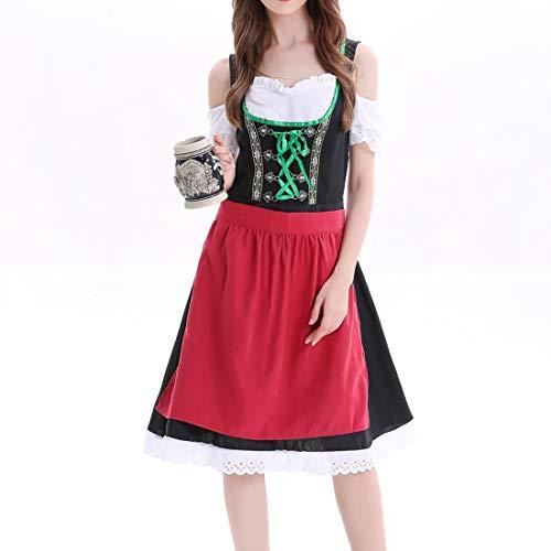 Frauen Europäische Kostüm - Chejarity 2 TLG. Damen Frauen Oktoberfest Kostüm: Kleid, Schürze Bayerisches Bier Mädchen Drindl Tavern Maid Dress Bierfest Dienstmädchen Kleidung Karneval Cosplay Kleider (3XL, Schwarz)