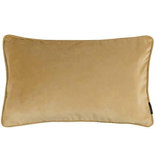McAlister Textiles Luxury Kollektion | Rechteckiger Kissenbezug aus mattem SAMT paspeliert | 50cm x 30cm in Ockergelb | Deko Kissenhülle für Sofa, Couch, Sessel Bett in luxuriösem Designer Plüsch
