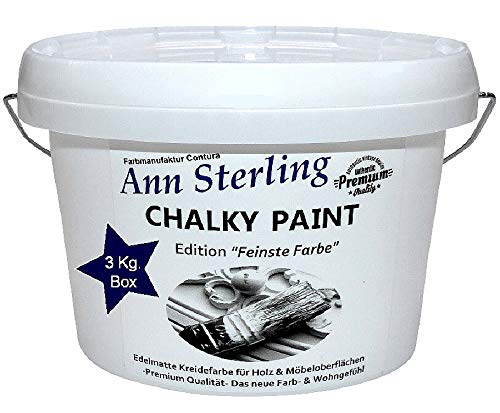 XL 3Kg. Ann Sterling Kreidefarbe Shabby Chic Farbe: Chalky White/Weiß 3Kg. Lack Chalky Paint