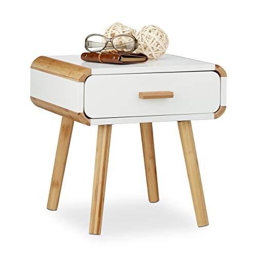 Relaxdays Nachttisch 1 Schublade, Holz Nachtschrank, platzsparende Schlafzimmer-Kommode, HxBxT: 41 x 40 x 40 cm, weiß