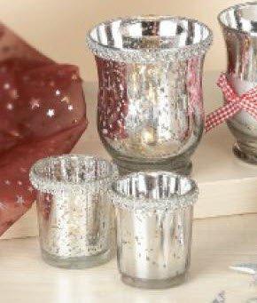 Action Glas Teelichthalter 3er Set Weihnachtliche Dekoration