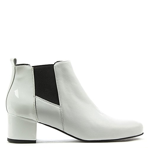 Daniel Mimi Blanc Bottine En Cuir Brevets Arrière White Leather