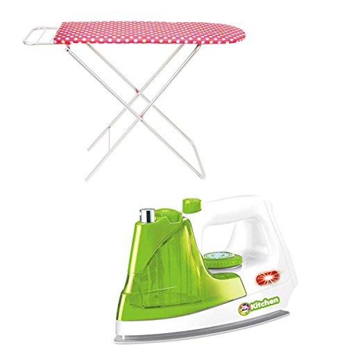 SG Kaiming Toys Kinder Bügeleisen Weiß Grün mit Funktion inkl. Bügelbrett Rosa