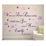 Wandschnörkel Wandtattoo mit Namen+ Datum Spruch Lila Mix + Wenn aus Liebe Leben wird.Wandspruch Baby Kinderzimmer XXL (Set A Mädchen)