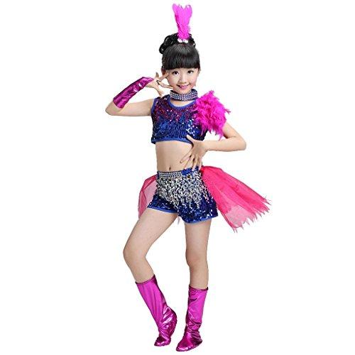 Byjia Kinder Jazz Tanz Kostüme Jungen Mädchen Kinderbekleidung Hosen Performance Kleidung Zeigen Klassische Sequins Studenten Chor Gruppe Team . Girl . (Kostüme White Jazz Dance)