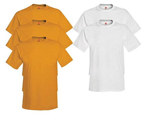 Hanes Men's Tagless Comfortsoft Crewneck T-shirt (Pack of 5) 3 Gold / 2 White