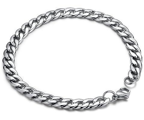 Stainless Steel Men's Polished Oval Link Chain Bracelet 8.8