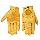 Gants de moto New Genuine Leather en peau de mouton en cuir Gants de moto Hommes Vintage Moto Gants Doigt Complet Rétro Biker Écran Tactile Moto Gants (Color : Genuine Yellow-XL)