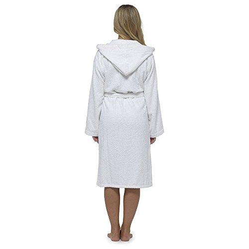 Damen Robe Luxury Frottee 100% Baumwolle Bademantel Bademantel Perfect Weihnachtsgeschenk Weiß