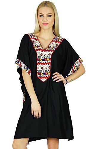 bimba-femmes-court-rayon-kaftan-manches-kimono-noir-caftan-boho-dress-coverup
