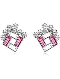 NEVI Trendy Swarovski Crystals Rhodium Plated Stud Earrings Jewellery for Women And Girls