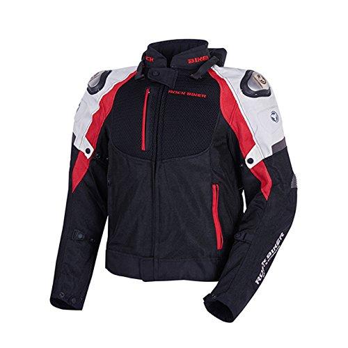 LanLan Giacca da moto,Tuta moto,Giubbotti protettivi per motociclisti da uomo Giacca protettiva da gara per cross-country impermeabile con collo protecter