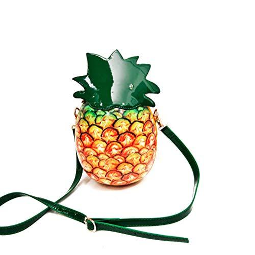 Morelyfish Frauen-Mädchen-Frucht-Form-PU-Schulter-Beutel-Ananas-Handtasche Zipper Nette Umhängetasche Kupplungs-Geldbeutel - Frucht Frauen