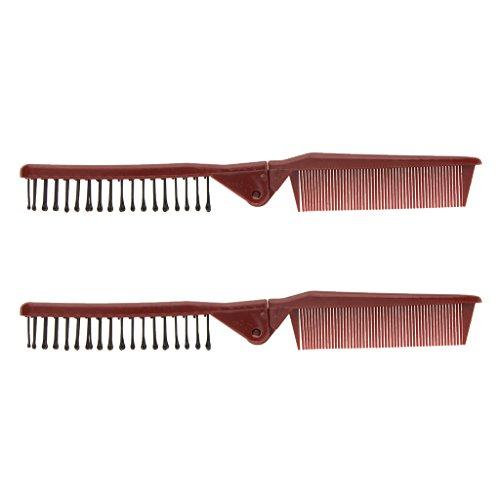 Baoblaze 2pcs Dame pliable Peigne double fin en plastique voyage dents brosse cheveux