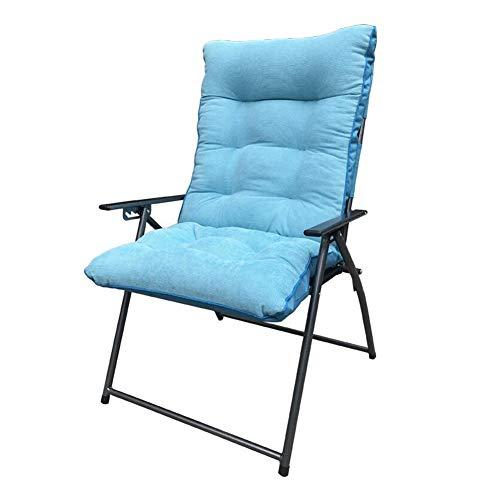 QIDI Chaises Longues, Chaise de Pause-déjeuner, Chaise de Bureau, Chaise d'ordinateur, en métal, Chambre à dortoir de Bureau à réglage à Cinq Vitesses Simple et familiale (Couleur : Bleu)