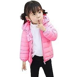 LANSKIRT_Ropa de bebé Abrigo Bebé, Niños Niñas Abrigos de Algodón Color Sólido Invierno Chaqueta Dibujos Animados Orejas Nieve Ropa con Capucha