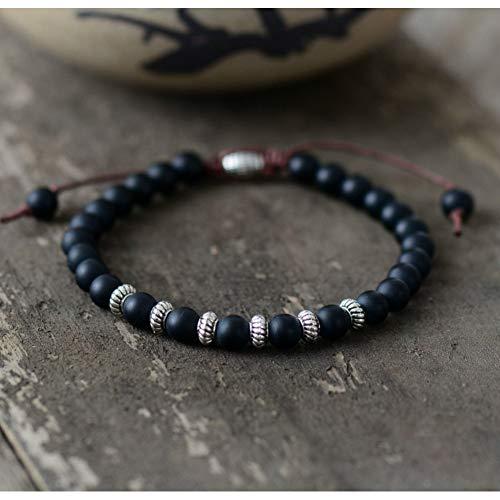 CXKNB Armband Boho Armband Herren Perlen Armband 6Mm Matte Black Onyx Antique Charm Einfache Armband Handmade Herren Armbänder -