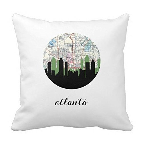 DSL&HXY White background city map lkwu1963 Decorative Cotton Linen Blend Throw Pillow Cover Square Pillow Case Cushion Cover 18 x 18 Inches Griffith.MJ