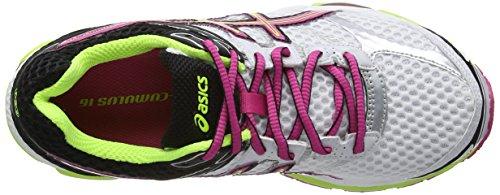 AISCS Gel-Cumulus 16, Chaussures de running Femme Blanc (White/Hot Pink/Black 120)