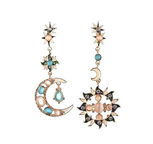 SUNMUCH 1 Paar Fashion Frau attraktives Diamanten Sonne Mond Gott Form Asymmetrische Ohrringe