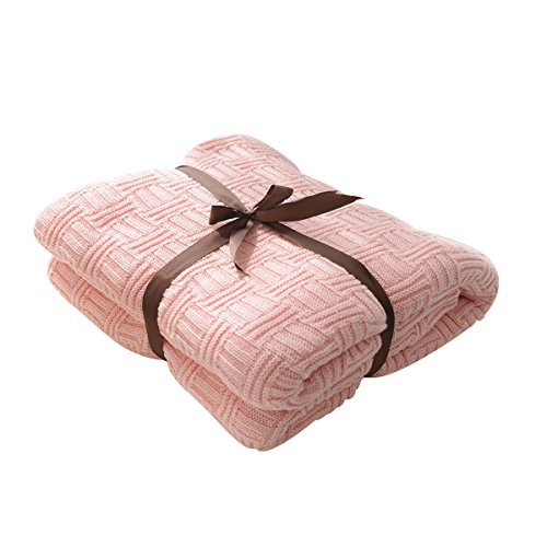 MYLUNE HOME 100% Baumwolle Luxus Stilvolle Strickdecke für Fernsehen oder Nap auf dem Stuhl, Sofa und Bet(120x180cm,pink)