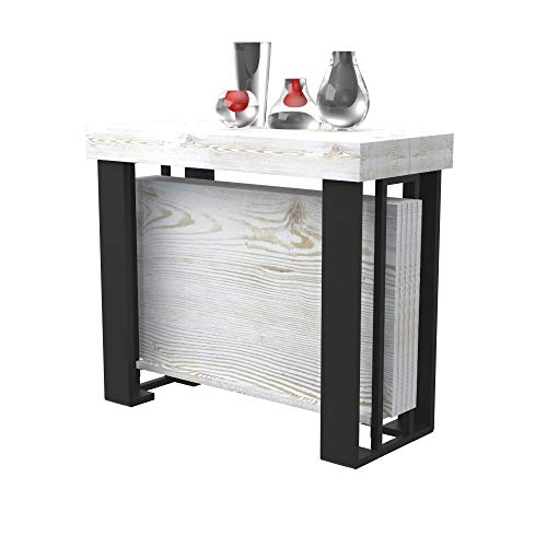 Tavolo consolle allungabile urano con porta allunghe - legno laminato e gambe in acciaio nero opaco - allungabile da 40 cm 300 cm, in 10 colorazioni legno - arredo cucina casa design (shabby chic)
