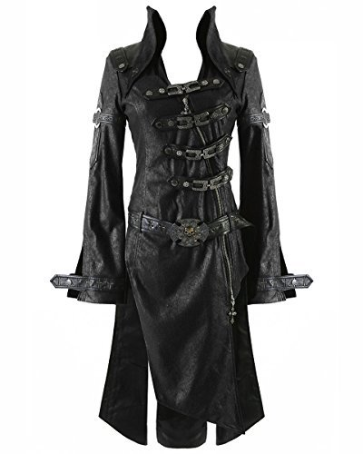 Punk Rave Negro Sombra Chaqueta Mujer Gótico Steampunk Piel Sintética Abrigo - Negro, 4XL - UK Womens Size 20