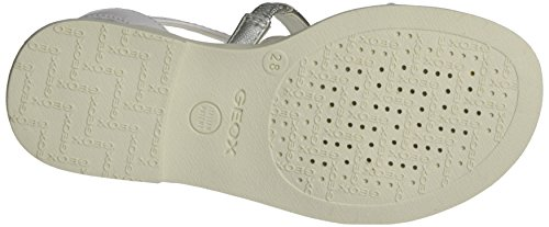 Geox Karly F, Sandales Bout Ouvert Fille Blanc (Whitec1000)