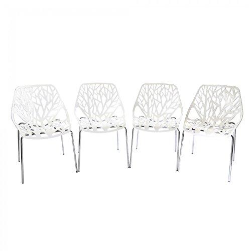 MY-SIT-Chaise-Design-Caluna-Ensemble-de-4-Blanc