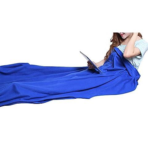 BoodTag Summer Thin Sleeping Bag Liner Soft-fleece Outdoor Blanket Travel Carpet for Camping Hiking (Blue)