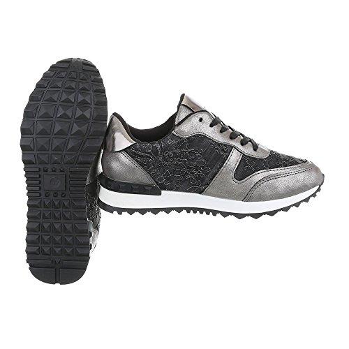 Ital-Design Scarpe da Donna Sneaker Piatto Sneakers Low nero argento G-98