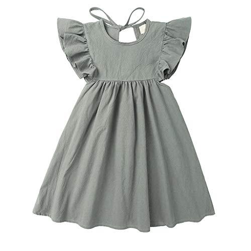 Livoral Kleinkind Kinder Baby Mädchen Leinen Rüschen Prinzessin Casual Beach Dress Outfits Kleidung(Grau,120)