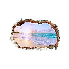 Idea Regalo - KEoly Adesivi murali serie muro rotto 3D, adesivi murali natura, mare sotto il tramonto, adesivo decorazione soggiorno camera da letto soffitto, adesivi murali casa (Multicolor)