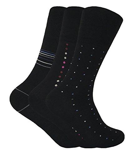 Hombre 3 pares vestir modernos antibacteriano bambu sin elasticos calcetines para circulacion en negros y beige (39-45 eur, Black)