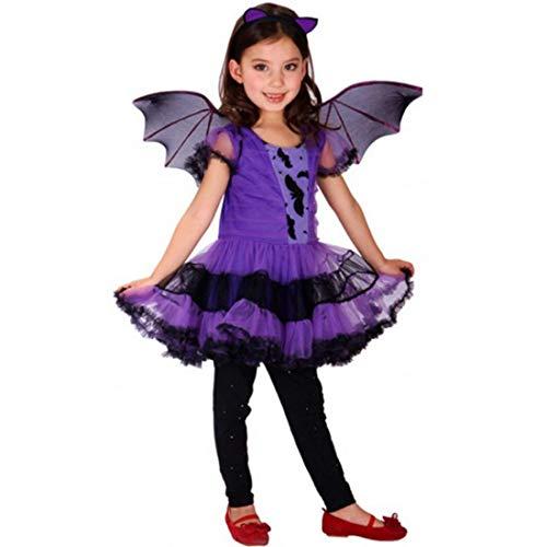 Halloween-Kostüm, hübsches Fledermaus-Kostüm für Kinder, Cosplay, Tanz-Kostüme mit Flügel, für Halloween, Maskerade, Party, Violett
