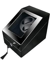 FIRWAY Watch Winder 2+3 Carica Orologi Automatici Box per 2 orologi con 3 Storage Statico Tabella, 5 Programmi di Rotazione, Vetrina Trasparente, Motore Silenziososo