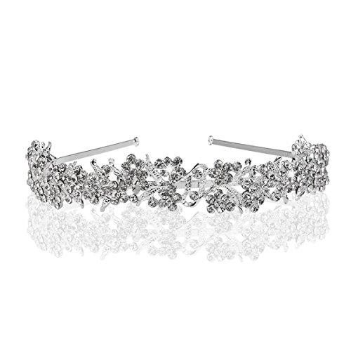 Tiara, Diadema con fiori, perle e strass, gioiello per capelli, da sposa