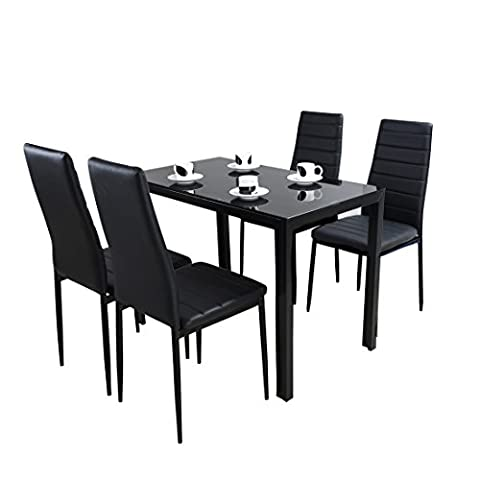Panana Glass Dining Table Set with 4 Faux Leather Chairs Seats Home Dining Room Furniture