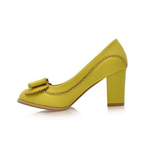 AgooLar Damen Rein PU Hoher Absatz Ziehen auf Rund Zehe Pumps Schuhe, Gelb, 31