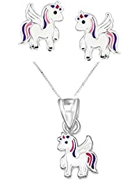 SL-Silver Children's Earrings and Necklace Set Pendant Unicorn 925silver in gift box