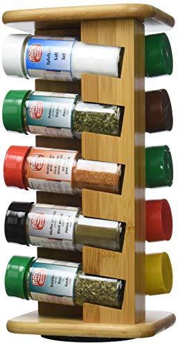 Kesper 1909313 Gewürzkarussell mit 10 gefüllten Gewürzgläsern Bambus