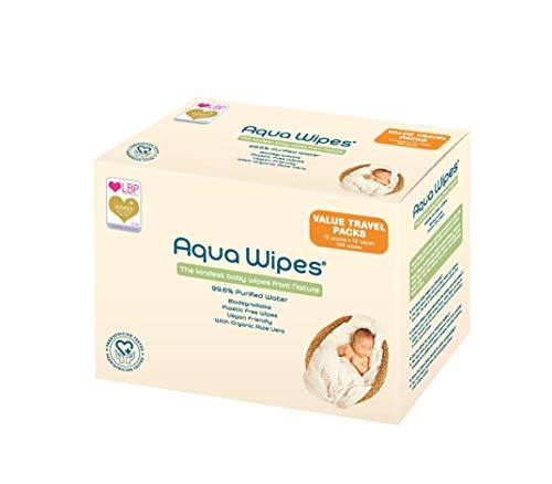 Aqua Wipes Baby Feuchttücher, Neugeborenes, (Packung mit 12 x 12 Wipe Travel Packs (144 Wipes)), Vegan, Biologisch abbaubar, 99,6% Gereinigtes Wasser, Kunststoff Frei