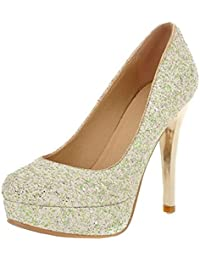 5087361cf5982e Aisun Damen Sexy Glitzer Paillette Plateau Stiletto Low Top Pumps  Brautschuhe